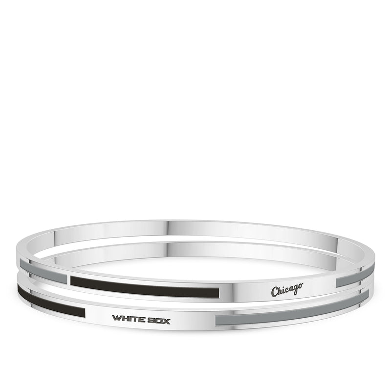 Chicago White Sox Engraved Two-Tone Enamel Bracelet In Sterling Silver