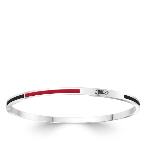 Arizona Diamondbacks Engraved Two-Tone Enamel Bracelet In Sterling Silver