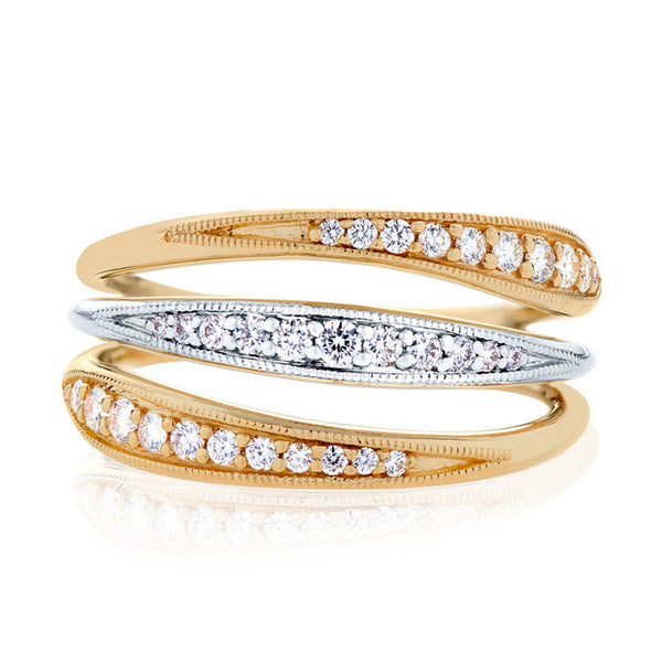 Bixlers Pas De Trois Diamond Triple Band Ring In 14K Yellow Gold & 14K White Gold