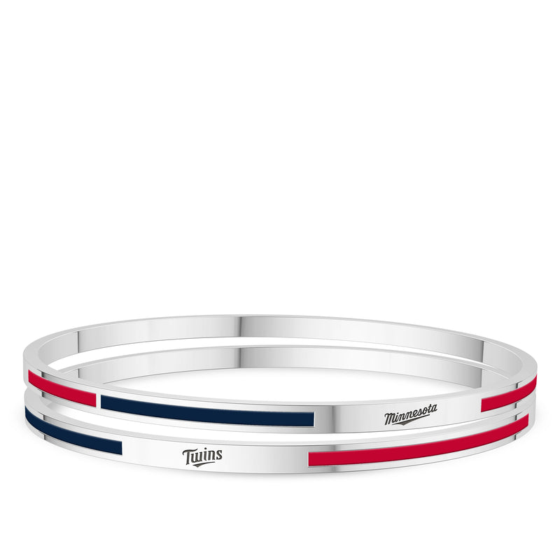Minnesota Twins Engraved Two-Tone Enamel Bracelet In Sterling Silver