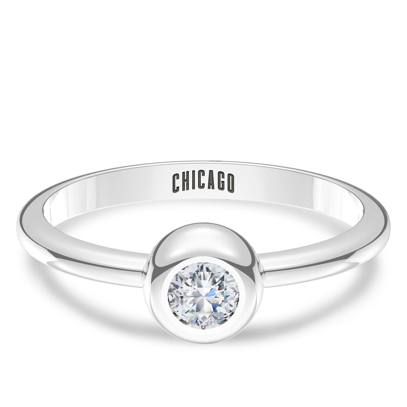 Chicago Cubs Diamond Engraved Ring In Sterling Silver