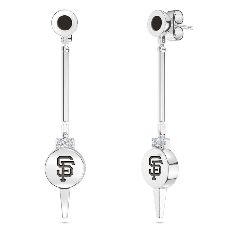 San Francisco Giants Diamond Logo Engraved Enamel Dangle Earring In Sterling Silver