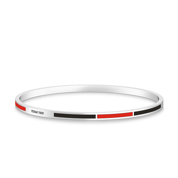 Texas Tech University Engraved Two-Tone Enamel Bracelet In Sterling Silver
