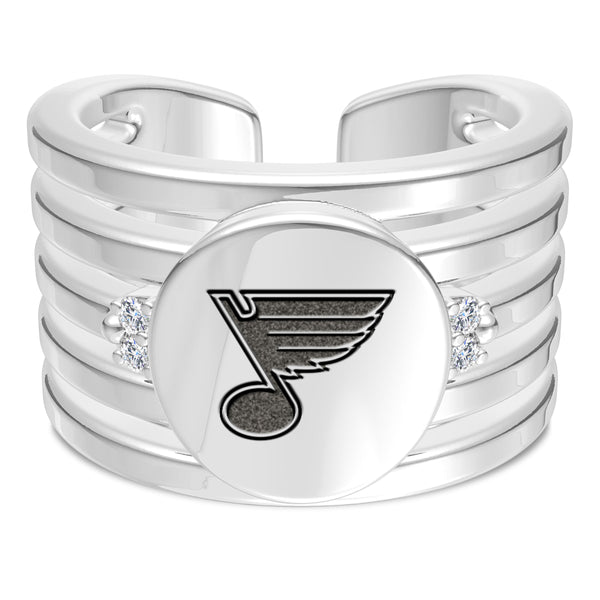 St. Louis Blues Diamond Logo Engraved Multiband Ring In Sterling Silver