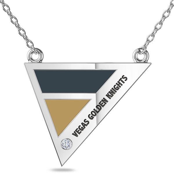 Vegas Golden Knights Geometric Necklace In Sterling Silver