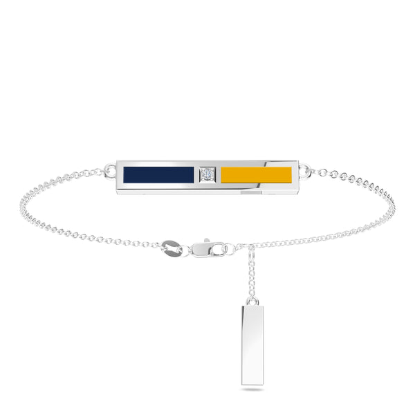 Milwaukee Brewers Diamond Bar Bracelet In Sterling Silver