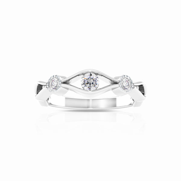 Bixlers Easton Diamond Milgrain Open Wave Ring In 14K White Gold