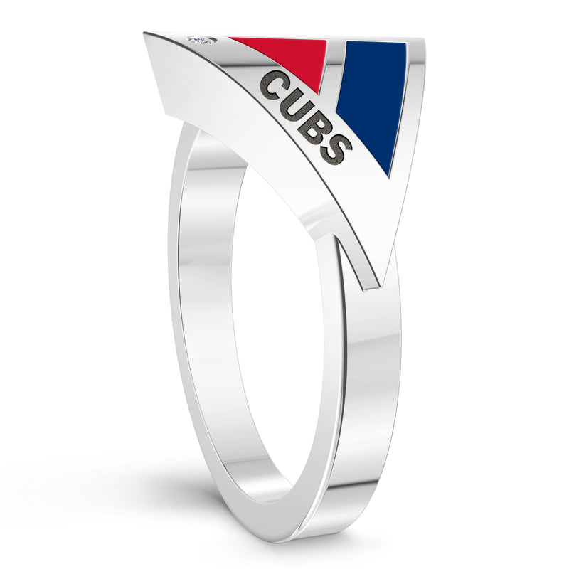 Chicago Cubs Diamond Engraved Geometric Ring In Sterling Silver