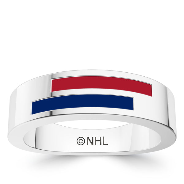 Montreal Canadiens Asymmetric Enamel Ring In Sterling Silver