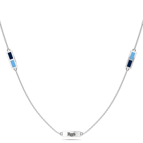Tampa Bay Rays Triple Station Necklace In Sterling Silver