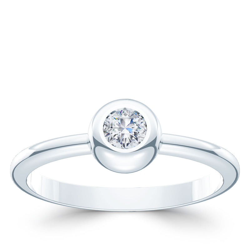 Bixlers Dew Drop Diamond Bezel Ring In 14K White Gold