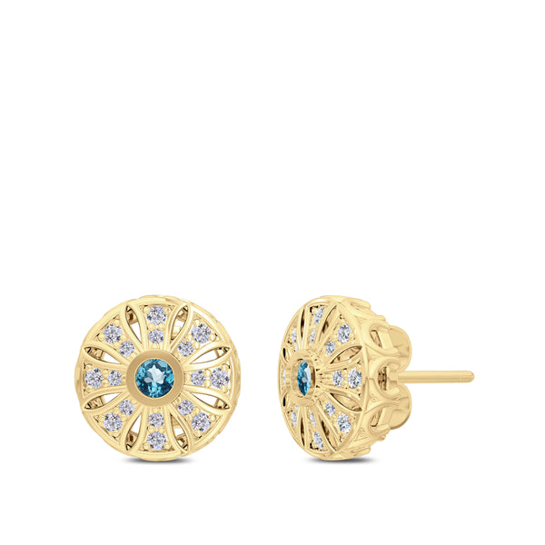Bixlers Rosette Aquamarine and Diamond Milgrain Sun Earrings In 14K Yellow Gold