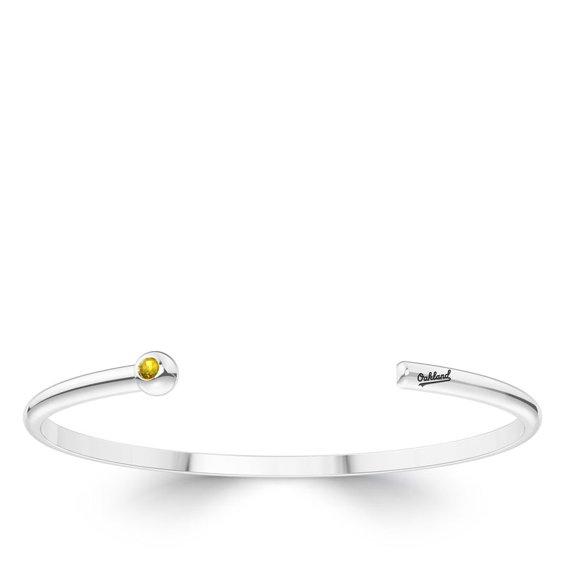 Oakland Athletics Yellow Sapphire Engraved Cuff Bracelet In Sterling Silver