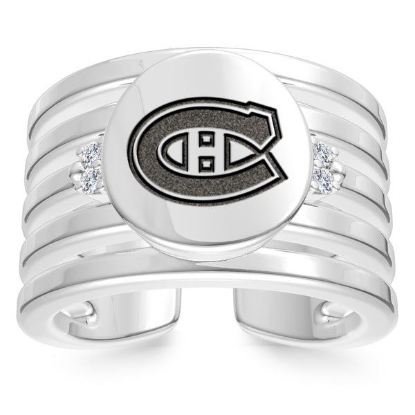 Montreal Canadiens Diamond Logo Engraved Multiband Ring In Sterling Silver