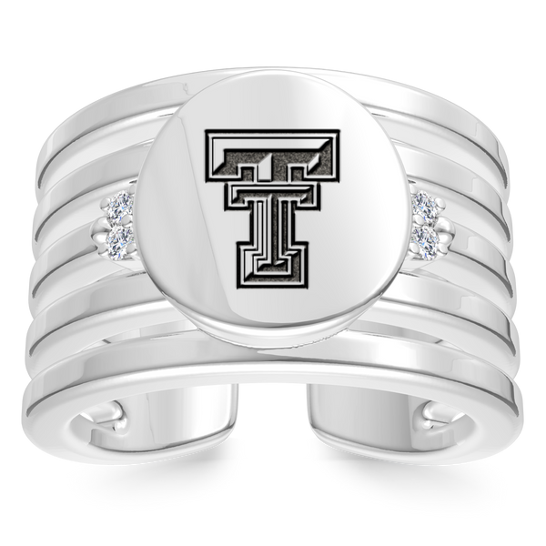 Texas Tech University Diamond Logo Engraved Multiband Ring In Sterling Silver