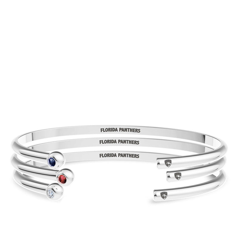 Florida Panthers Sapphire Engraved Cuff Bracelet In Sterling Silver