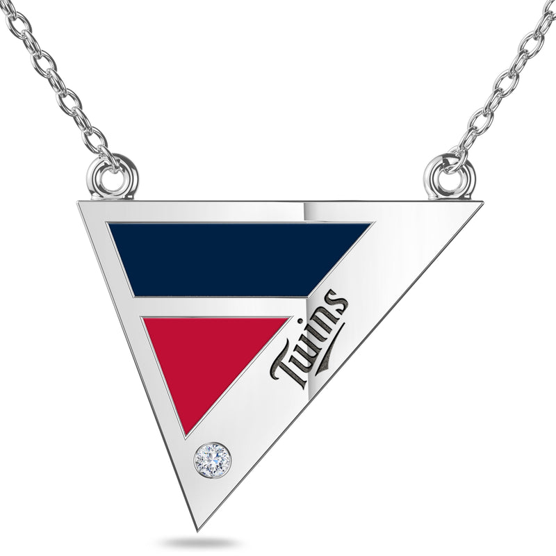 Minnesota Twins Geometric Necklace In Sterling Silver