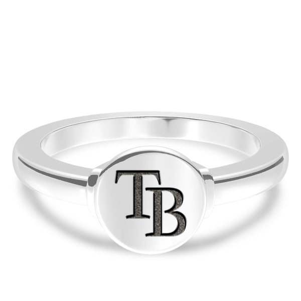 Tampa Bay Rays Logo Engraved Ring In Sterling Silver