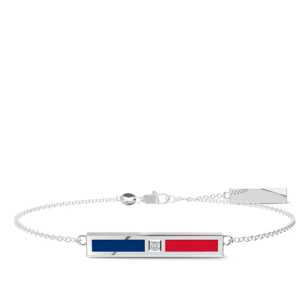 Chicago Cubs Diamond Bar Bracelet In Sterling Silver