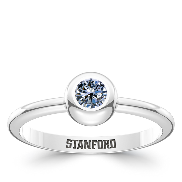 Stanford University White Sapphire Engraved Ring In Sterling Silver