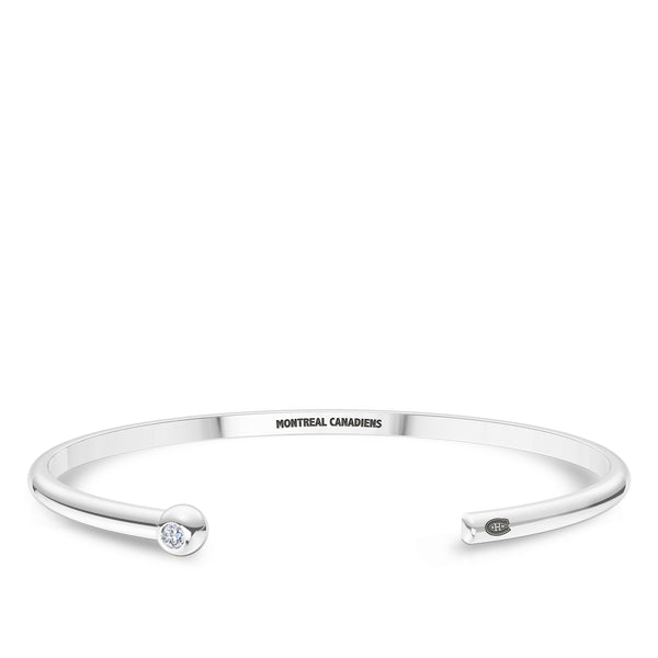 Montreal Canadiens Diamond Engraved Cuff Bracelet In Sterling Silver