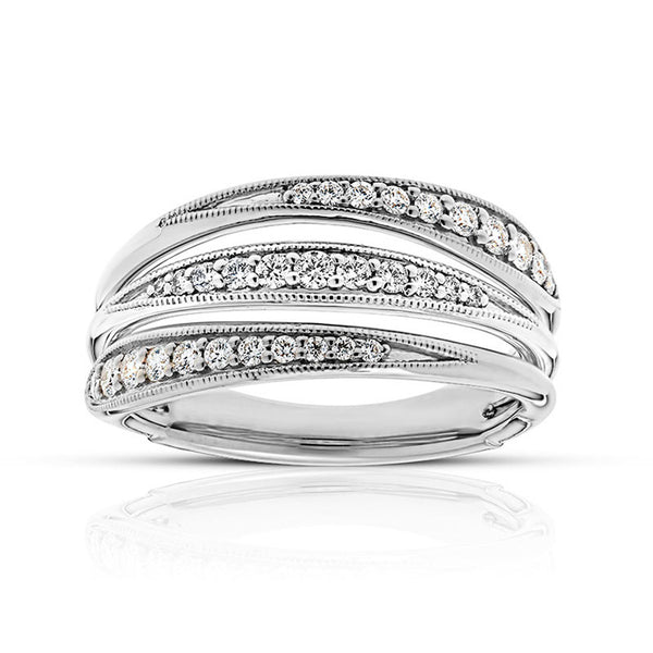 Bixlers Pas De Trois Diamond Triple Band Ring In 18k White Gold