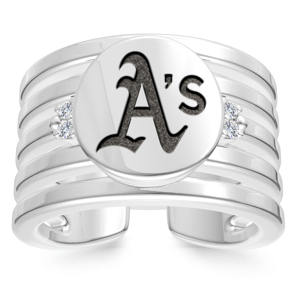 Oakland Athletics Diamond Logo Engraved Multiband Ring In Sterling Silver