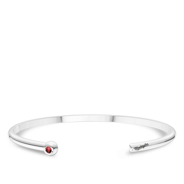 Washington Nationals Ruby Engraved Cuff Bracelet In Sterling Silver