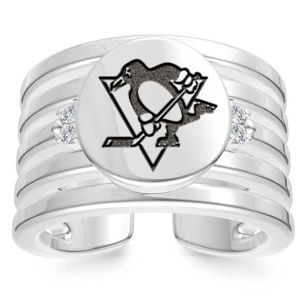Pittsburgh Penguins Diamond Logo Engraved Multiband Ring In Sterling Silver