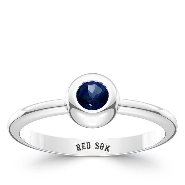 Boston Red Sox Sapphire Engraved Ring In Sterling Silver