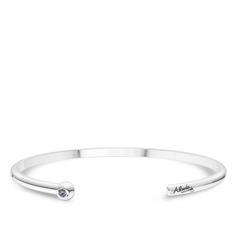 Atlanta Braves White Sapphire Engraved Cuff Bracelet In Sterling Silver
