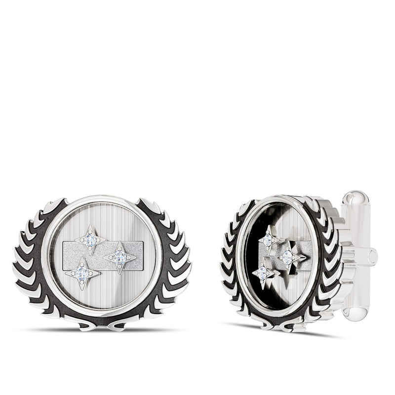Star Trek Diamond Federation Cufflink In Sterling Silver