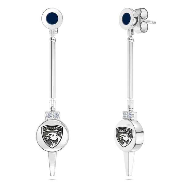 Florida Panthers Diamond Logo Engraved Enamel Dangle Earring In Sterling Silver