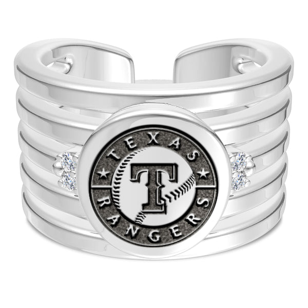Texas Rangers Diamond Logo Engraved Multiband Ring In Sterling Silver