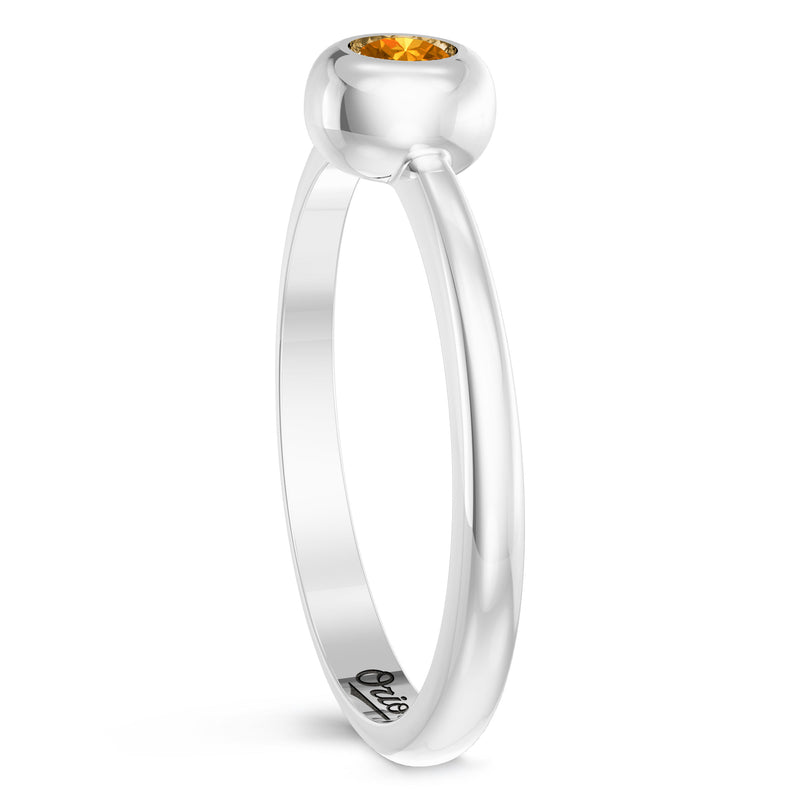 Baltimore Orioles Citrine Engraved Ring In Sterling Silver