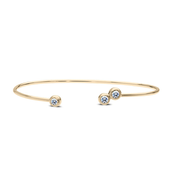 Bixlers Dew Drop Diamond 3 Bezel Cuff In 14K Yellow Gold