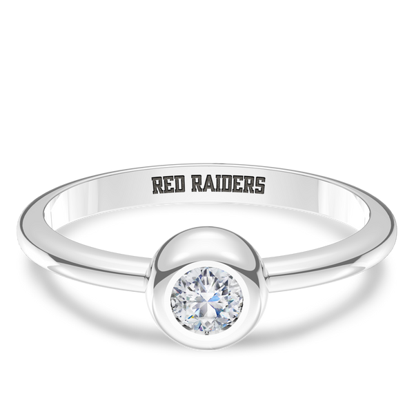 Texas Tech University Diamond Engraved Ring In Sterling Silver