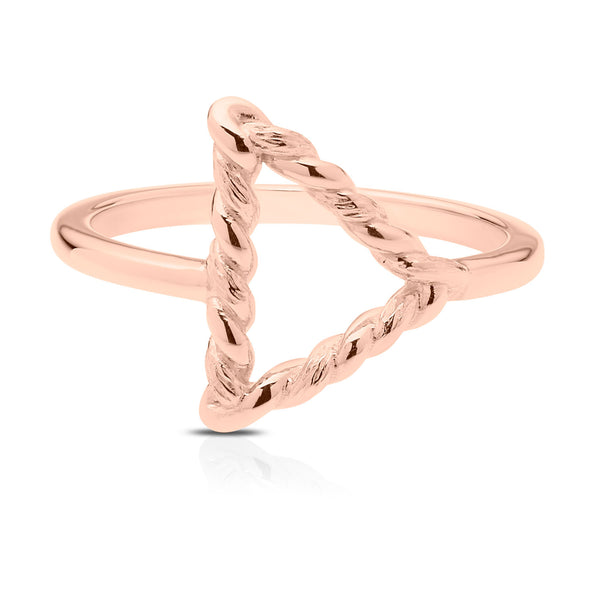 Bixlers Simplicity Triangle Florentine Twist Ring In 14k Rose Gold
