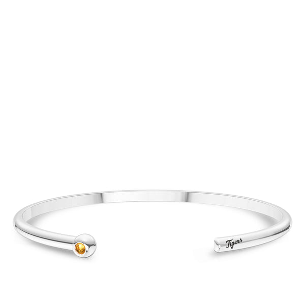 Detroit Tigers Citrine Engraved Cuff Bracelet In Sterling Silver