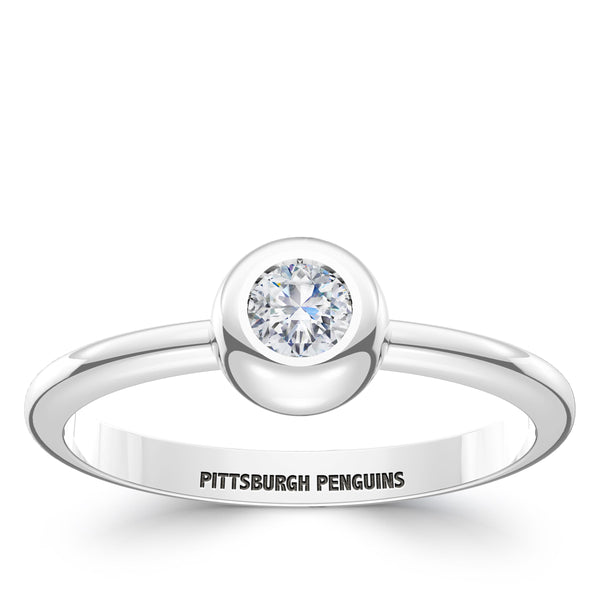 Pittsburgh Penguins Diamond Engraved Ring In Sterling Silver