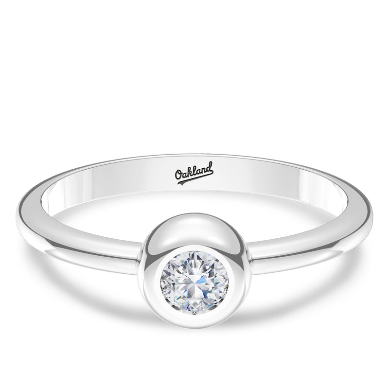 Oakland Athletics Diamond Engraved Ring In Sterling Silver