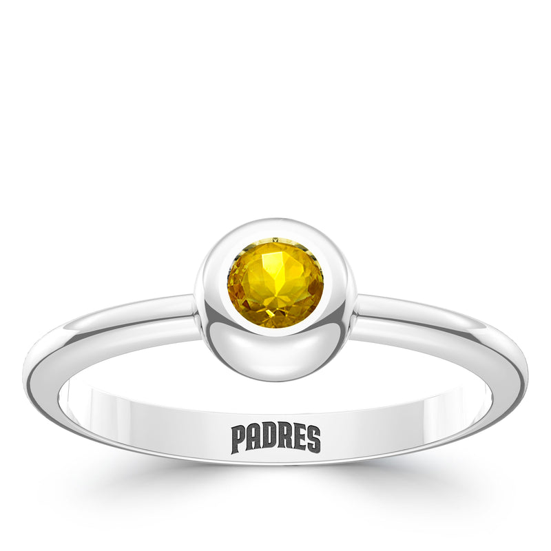 San Diego Padres Yellow Sapphire Engraved Ring In Sterling Silver