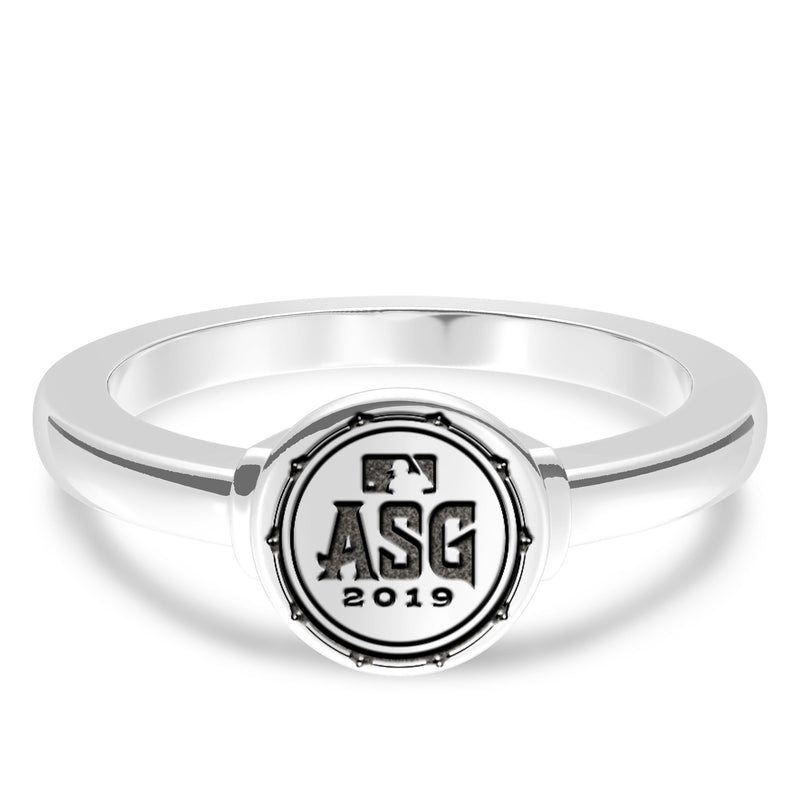 Mlb Logo Engraved Ring In Sterling Silver