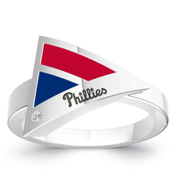 Philadelphia Phillies Diamond Engraved Geometric Ring In Sterling Silver
