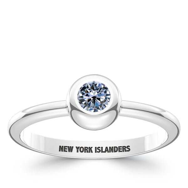 New York Islanders White Sapphire Engraved Ring In Sterling Silver