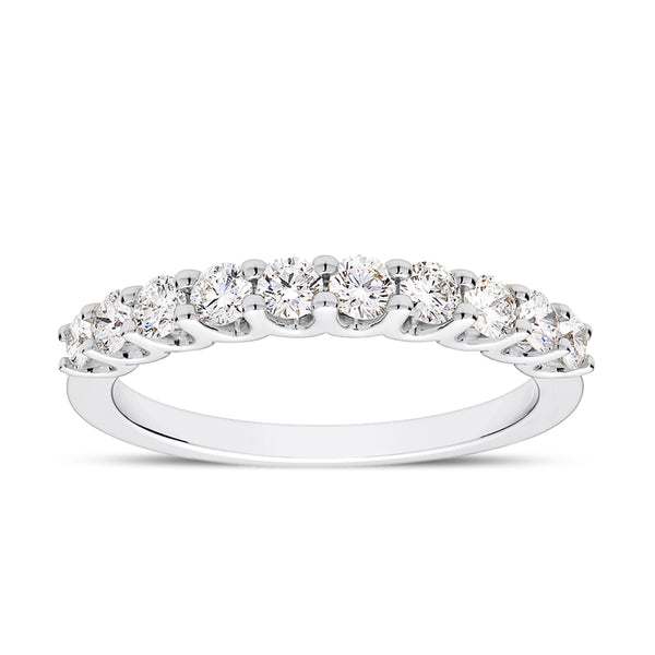 Bixlers Prong Set Diamond Scallop Graduated Wedding Band In 14K White Gold
