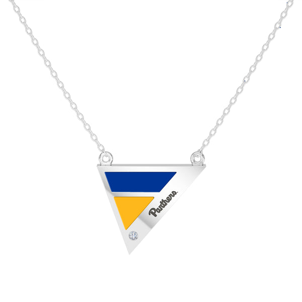 University Of Pittsburgh Geometric Necklace In Sterling Silver