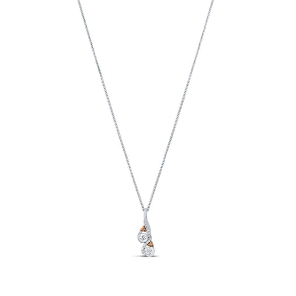 Bixlers Easton Diamond Love & Cherish Pendant In 14K White Gold & 14K Rose Gold