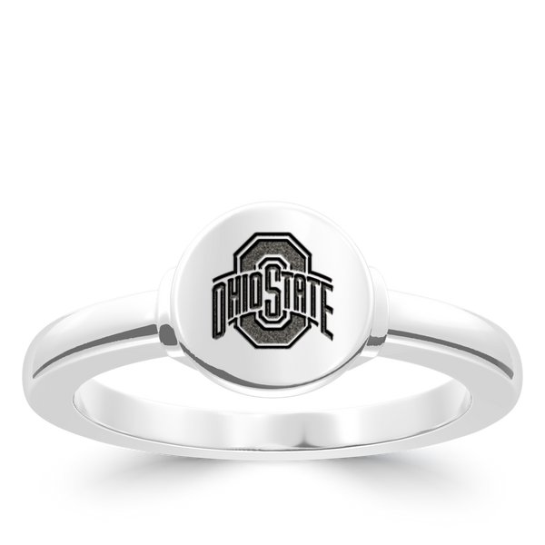 The Ohio State University Logo Engraved Ring In Sterling Silver