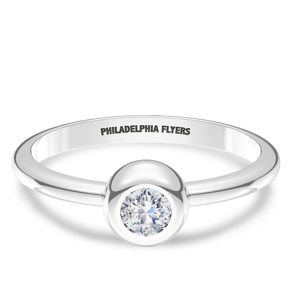 Philadelphia Flyers Diamond Engraved Ring In Sterling Silver